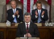Ukrainian President Petro Poroshenko delivers remarks to a joint meeting of Congress