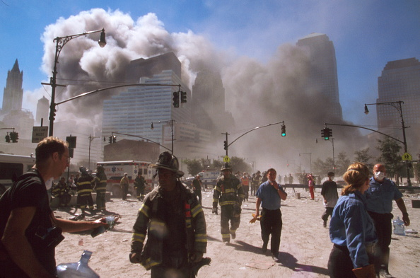 The September 11 (or 9/11) Islamic terrorist group al-Qaeda attacks on New York City, September 11, 2001. Two of the planes, were crashed into the North and South towers, of the World Trade Center complex in New York City. Within two hours, both 110-