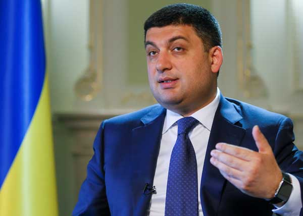 Ukraine's Prime Minister Groysman speaks during an interview in Kiev