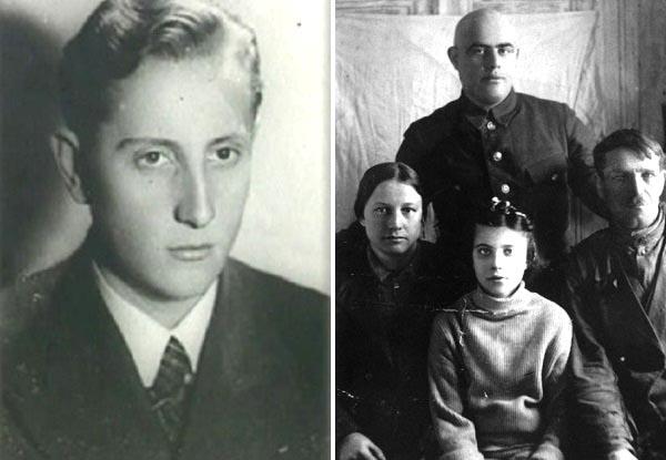 Ян Ходоровский (слева), Нелли Гордон со своими спасителями Василием и Марией Зубковыми в марте 1945 года (справа)