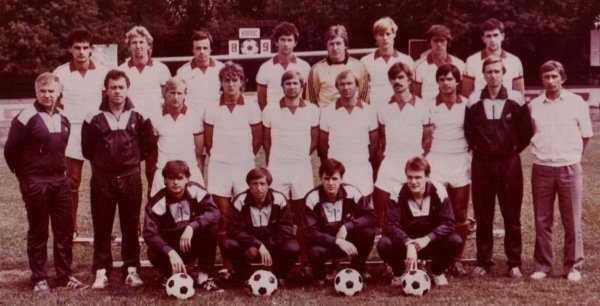 """СК """"Колос"""". 1989 рік. У другому ряді, другий ліворуч - тренер Володимир Нечаєв"""